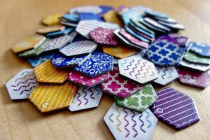 The Patch tiles of the board game Calico