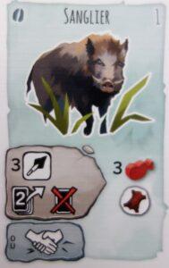 Paleo : Pour réaliser cette carte, je dois défausser 2 cartes de mon paquet, défausser, mettre cette carte au cimetière et ma tribu doit avoir 3 en force.