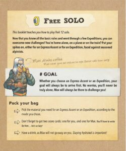 """Trek 12 : A page of the solo mode from the manual """"free solo mode """"."""