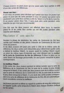 Matcha : Une page de règles. On peut voir que les règles sont denses, la faute à un petit livret.