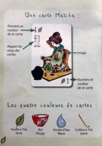 Matcha : Sur chaque carte, on retrouve l'illustration, le chiffre, la couleur ainsi qu'un rappel vous indiquant le rang des cartes.